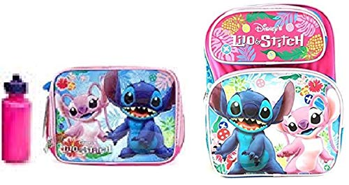 Disney Lilo and Stitch - 3D 14 inch Medium Backpack + Lunch Box + Bottle Water Set | 015 - (Mickey Mouse Head Lunch Box With Thermos)