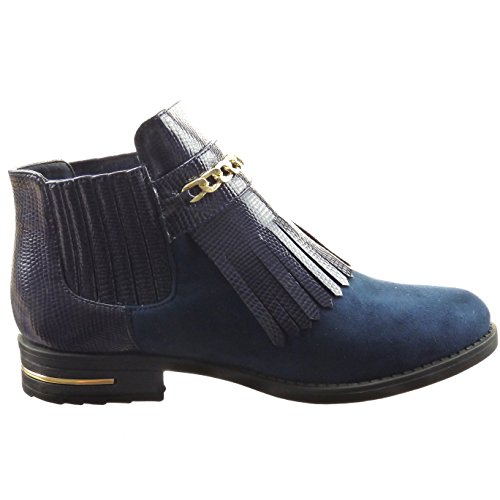 Sopily - Chaussure Mode Bottine Chelsea Boots Cheville femmes Peau de serpent Chaïnes Métallique Talon bloc 3 CM - Intérieur Fourrée - Bleu