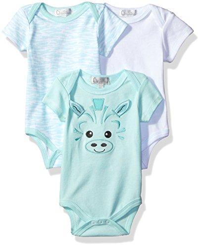 Quiltex Baby Girls' 3 Pack Bodysuit, Light Blue, 3/6