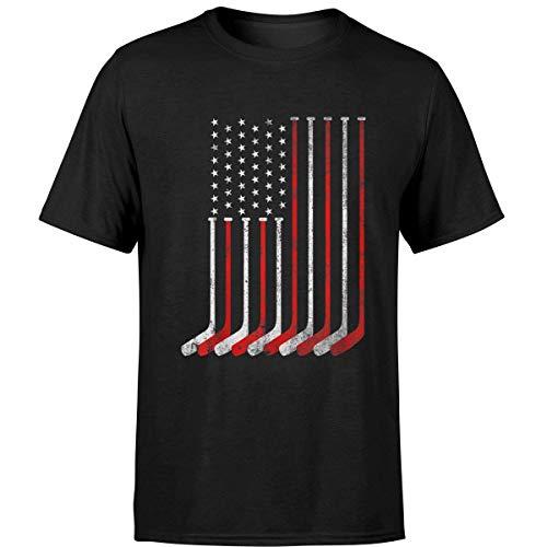 Minetees Hockey Stick USA Flag Faded Hockey Player