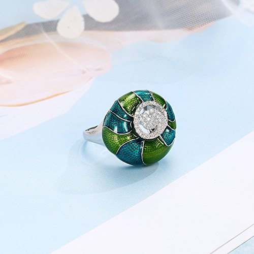 Mytys 18K White Gold Plated CZ Crystal Rings Flower Pattern Colorful Enamel Rings Glazed Costume Jewelry(Green) by Mytys (Image #4)