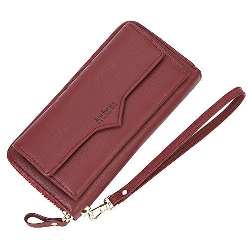(Women's Long Zipper Around Card Wallet Leather Clutch Wristlet Wallet Purse for Ladies, Dark Red)