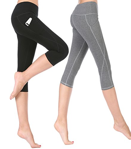 ABUSA Women's High Waist Yoga Capri Leggings Tummy Control Workout Pants with Out Pocket Black & Grey L (Control Top Cotton Tights)