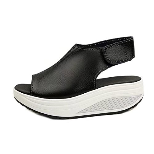 Pointed hollow out breathable flat sandals women black - 3
