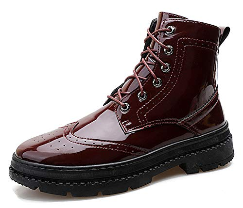 Aisun Men's Trendy Burnished Round Toe Thick Sole Lace Up Platform Ankle Booties Flat Baroque Oxford Boots Shoes (Wine Red, 9.5 M US) (Best Rated Red Wine 2019)