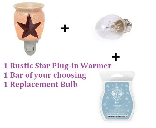 (Scentsy Rustic Star Plug-in Warmer Starter Kit (Your Choice of Bar + Replacement Bulb))