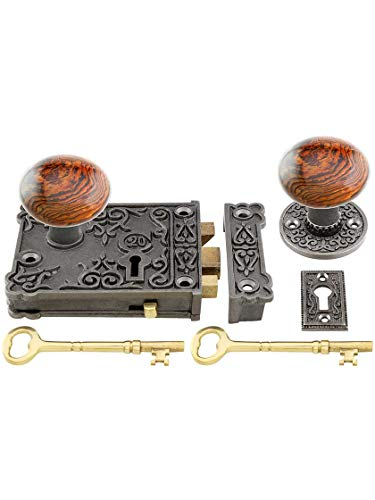 (House of Antique Hardware R-01HH-C1032-SBN-AI - Cast Iron Century Rim Lock Set with Brown Swirl Porcelain Knobs in Antique Iron)