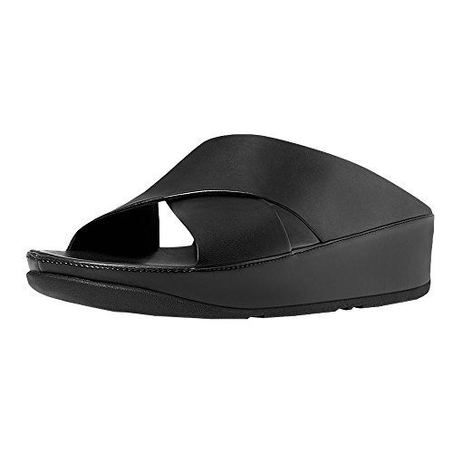 3f1863b26200 fitflop Women s KYS Wedge Slide Sandal All Black Leather Size 8.5 M ...