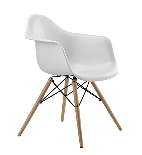 DHP Mid Century Modern Molded Arm Chair with Wood Legs, Lightweight, White