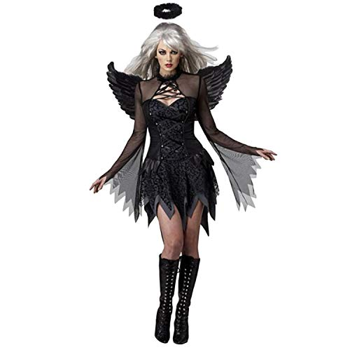 (Migavan Party Costume,Women Girls Sexy Evil Fallen Darkness Angel Costume Wings Headband Dress Halloween Theme Party Cosplay Stage Performance Photography)