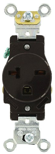 Leviton 5461 20 Amp, 250 Volt, Industrial Heavy Duty Grade, Single Receptacle, Straight Blade, Self Grounding, Brown