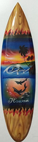 Wooden-Hand-Carved-Air-Brush-Wall-decoration-Shark-And-Plum-Tree-Sun-Set-Design-18-inches-Name-Drop-HAWAII