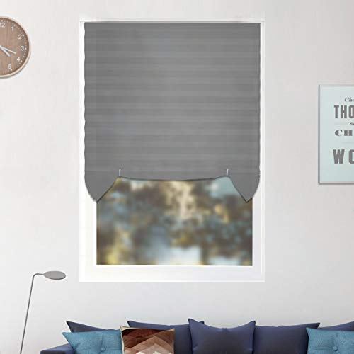6 Pack Temporary Window Shades Cordless Blinds Light Filtering Pleated Fabric Shade Easy to Cut and Install, with 12 Clips, 36″x72″-6 Pack, Grey