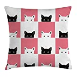 Ambesonne Cats Throw Pillow Cushion Cover by, Chess Board Design with Cute Kittens Feline Baby Kitty Animals Pets Retro Mosaic, Decorative Square Accent Pillow Case, 20 X 20 Inches, Black White Pink