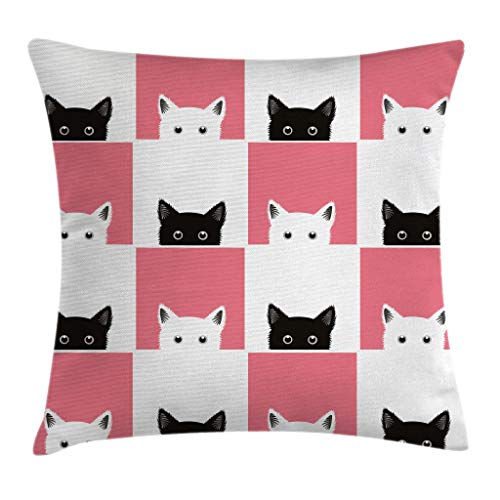 Ambesonne Cats Throw Pillow Cushion Cover by, Chess Board Design with Cute Kittens Feline Baby Kitty Animals Pets Retro Mosaic, Decorative Square Accent Pillow Case, 18 X 18 Inches, Black White Pink