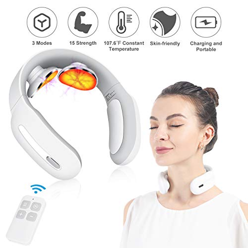 Neck Massager with Pulse Heated, Smart Cordless 4D Electric Neck Massage Equipment with 3 Modes and 15 Speeds for Office…