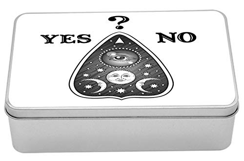 Ambesonne Ouija Board Tin Box, Antique Style Mystifying Oracle Yes and No Text and Question Mark, Portable Rectangle Metal Organizer Storage Box with Lid, 7.2
