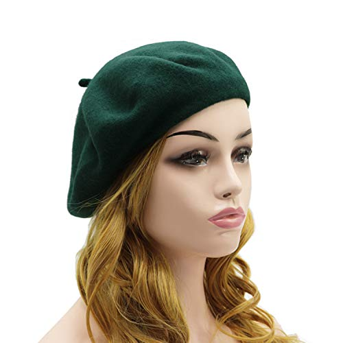 Green Womens Beret - Wheebo Wool Beret Hat,Solid Color French Style Winter Warm Cap for Women Girls Lady (Beret Hat- Dark Green-FBA)
