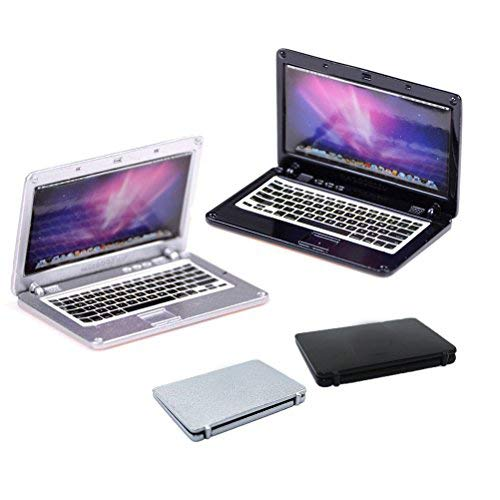 Dengguoli 2 Pack Dollhouse Scene Miniatures Mini Laptop Computer Simulation for Doll 1/6 1/12 (Black+Silver) (Barbie Computer)