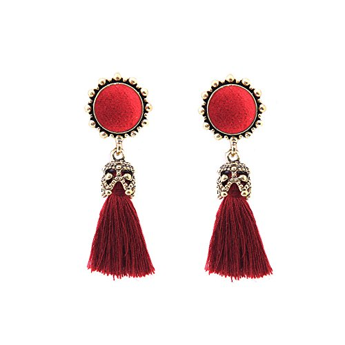 - Vintage Earrings, Paymenow 2018 New Women Girls Fashion Bohemia Round Tassel Dangle Stud Earrings Jewelry Accessories Gifts (Red)