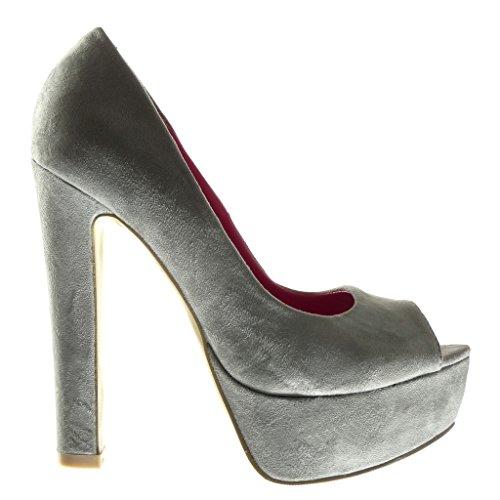 Gris Talon Decolleté Chaussure Bloc Escarpin Mode Femme 5 Cm Stiletto Haut Angkorly Plateforme 13 OX0qXw