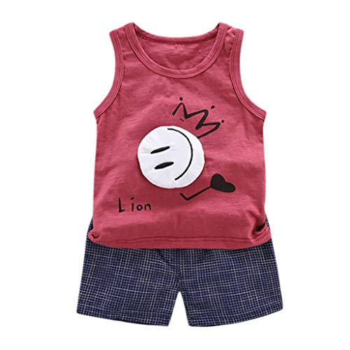 Toddler Clothes Set SIN vimklo Baby Sleeveless Cartoon Vest T-Shirt Tops Shorts Pants Set(6 Months-5 Years) Red