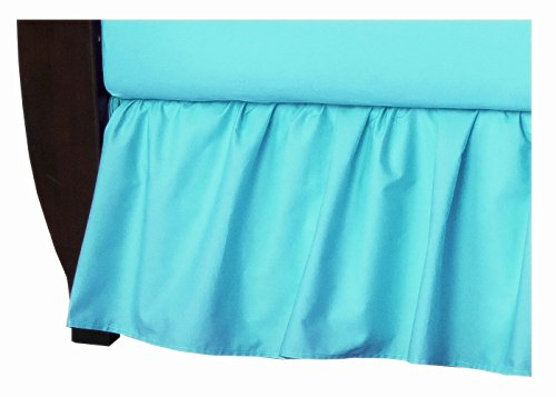 American Baby Company 100% Natural Cotton Percale Ruffled Crib Skirt, Aqua, Soft Breathable, for Boys and ()