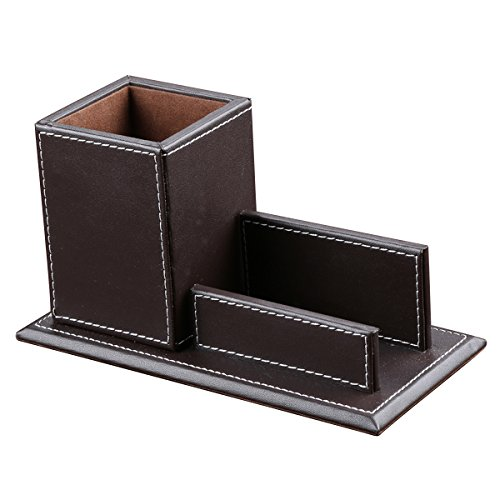 KINGFOM Office Accessories Multipurpose Leatherette Desktop Mesh Collection Container Pen Pencil Holder Caddy Organizer & Business Cards Holder Stand (brown)
