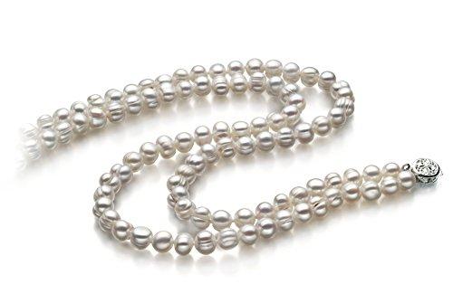 Blanc 6-7mm A-qualité perles d'eau douce -Collier de perles