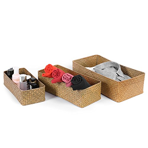 Set of 3 Large Rectangular Handwoven Natural Seagrass Wicker Nesting Storage Baskets and Home Organizer Bins