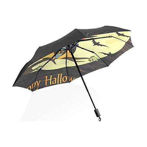 Umbrella Halloween Owl In Witch Costume Folding Anti-UV Windproof Umbrella]()