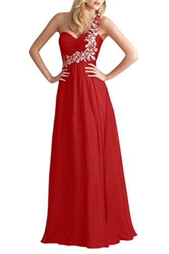 Ange Mariée Une Épaule Robes De Bal Du Soir Longues Robes Formelles En Mousseline De Soie Rouge