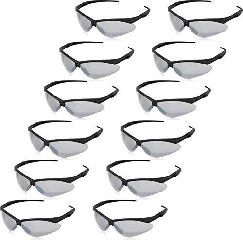 AmazonBasics Anti-Scratch Safety Glasses, UV-Resistant, Smoke Mirror Lens, 12-Count