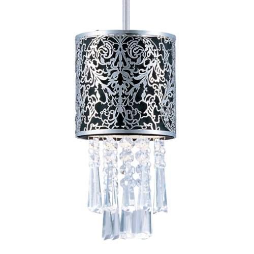Fabric Mini Pendant (Maxim Lighting 92293BKSN Rapture 1-Light Mini Pendant, Satin Nickel Finish with Black Fabric)