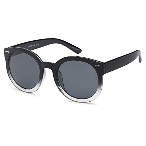 CATWALK Womens Oversized Cat Eye Plastic Fashion Frame Sunglasses with Mirror Flash Lens Option – Gray Lens on Black Crystal - Frame Eyes Sunglasses Crystal Sunglasses