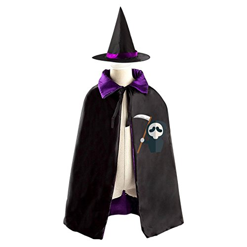 Cosplay Costume Oops (A cruel boy Kids Hallowmas clothing Oops grim Reaper Black Cloak and Cape with Hood)