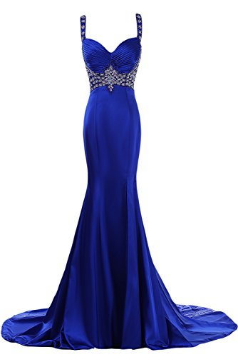 Lang Satin Sexy Abendmode Schleppe Abendkleid Spaghetti Brautjungfernkleid Mermaid Bride Traeger Gorgeous wP1FpqP