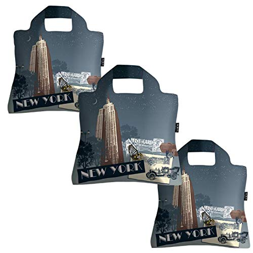Reusable Grocery Bags- Set of 3 New York, Envirosax Foldable Quality Shopping Tote, Eco-Friendly Totes ()