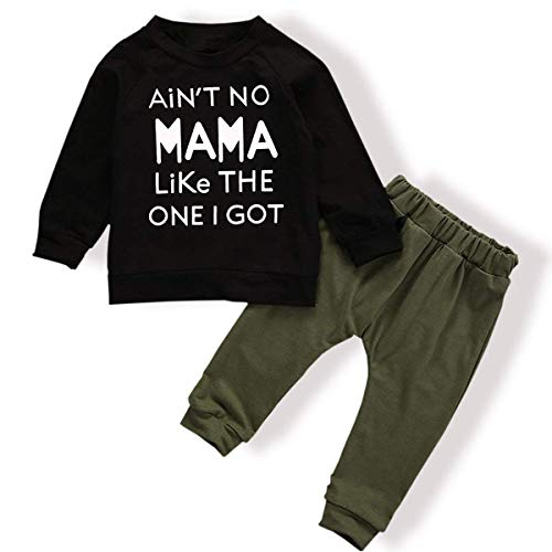 Infant Boys Long Sleeve Pant - Toddler Baby Boy Clothes Long Sleeve Funny Letter Sweatshirt Top + Camouflage Pants Summer Breathable Outfit Set (F-Black, 6-12 Months)
