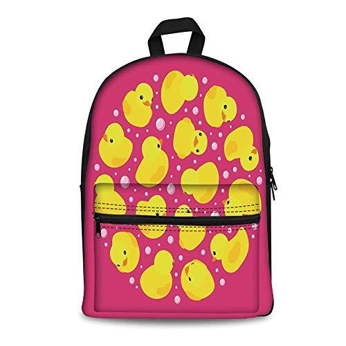 Rubber Duck Stylish Canvas School Bag,Fun Baby Duckies Circle Artsy Pattern Kids Bath Toys Bubbles Animal Print for School Travel,11.4
