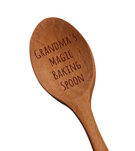 "Laser Engraved ""Grandma's Magic Baking Spoon"" Wooden Spoon – New Grandmother Gifts – Baking Gifts – Grandma To Be Gifts"