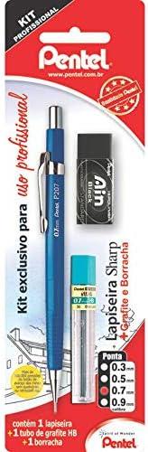 Lapiseira Sharp P200 0.7 Mm + Borracha Ain, Pentel, Lapiseira Azul/Borracha Preta, Pacote De 1