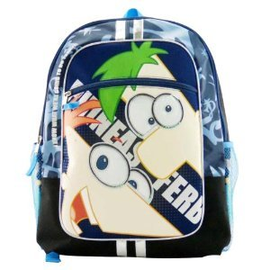 """Price comparison product image Phineas and Ferb Large Backpack - Large 16"""" Phineas and Ferb Blue Backpack"""