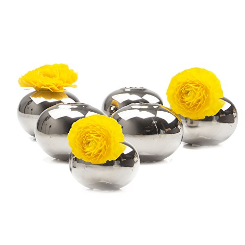 Chive - Jojo Small Oval Ceramic Flower Vase, Decorative Modern Vase for Home Decor Living Room Centerpieces and Events - Wholesale Bulk 6 Pack - Silver - Small Sphere