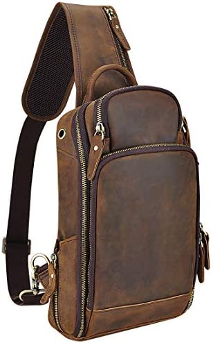 OakHide Mens Genuine Leather Sling Chest Bag Casual Shoulder Daypacks For 10.5 Inches iPad