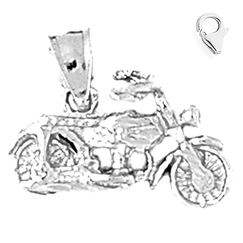Jewels Obsession 3D Motorcycle Charm | 14K White Gold 3D Motorcycle Charm Pendant - 14mm