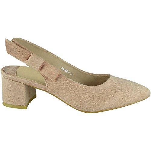 LoudLook Femmes Parti Sandales Élastique Slingback Strap Été Mid Heel Chaussures Taille 36-41 Rose ON29DpWb98