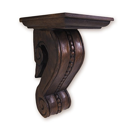 CinMin Oak Stain Corbel Wood Wall Bracket, Handcarved (Medici)