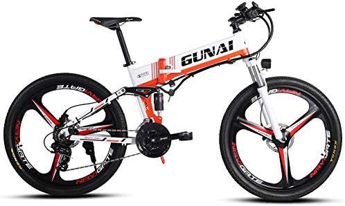 GUNAI Bicicleta Eléctrica Plegable Bicicleta de Montaña de 21 ...