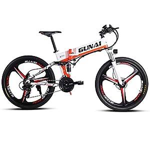 41SUDCrqL1L. SS300 GUNAI Bici Elettrica 26 Pollici Mountain Bike 350 W, Sedili Posteriori a Sospensione Completa Avanzati e Marce a 21…